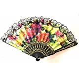 AUM- Lace Trim Colorful, Flower Floral Pattern, Hand Held Folding Bamboo Japanese Silk Hand Fan (Black-LF).100% Hand Crafted, Gift Fan For Girls, Women, Wedding Party. Buy 100% Original Imported Hand Fan From Aum Impex Only