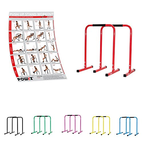POWRX Dip Barren (Paar) inkl. Workout | Push Up Stand Bar | Dip Station | Fitness Rack | Core Trainer (Rot, 90 x 65 cm)