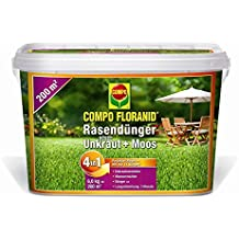 Abono césped COMPO FLORANID contra malas + verde 4-in-1, 6 kg para 200 m2
