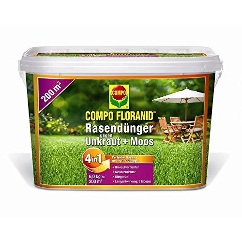 COMPO FLORANID Rasendünger gegen Unkraut + Moos 4in1 6 kg