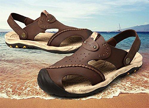 WXR Herren Atmungsaktiv Wasserdicht Leder Freizeit Strand Sandalen Brown