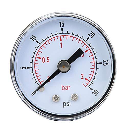Preisvergleich Produktbild Mechanisches Manometer,  1 / 8 Zoll BSPT Axialmanometer für Luft,  Öl und Wasser(0-30psi, 0-2bar)