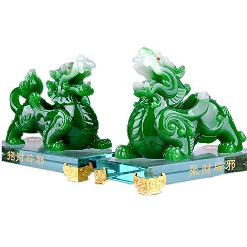 Feng Shui Ein Paar Naturharz ALS Jade Pixiu Pi Yao Statue Home Office Decor Symbol für Reichtum, Kunstharz, grün