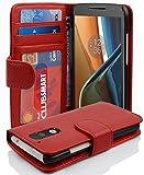 Cadorabo Hülle für Motorola Moto G4 / Moto G4 Plus - Hülle in Inferno ROT – Handyhülle mit 3 Kartenfächern - Case Cover Schutzhülle Etui Tasche Book Klapp Style