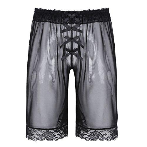 iEFiEL Boxershorts aus Spitzen Unterhosen für Männer Transparent Boxer Unterwäsche für Herren Boxershort Schwarz Medium