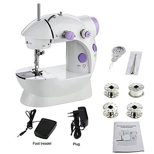 RainRR Tragbar Nähen, tragbar Nähen Double Speed Mini Nähmaschine weiß und lila Mini sewimg Machine, Mini Sewimg Machine (Sewing Machine)