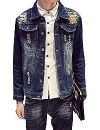 Hombre Chaqueta De Vaquero con Bolsillos Abrigo De Mezclilla Slim Outwear Denim Jacket 67NkwgAz
