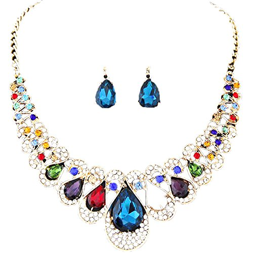 Women Necklaces, Rcool Women Girl Mixed Style Bohemia Color Bib Chain Necklace Earrings Jewelry Set (Multicolor)