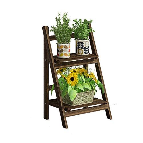HJ Blumenständer Yxsd Blumen-Regal-Balkon-festes Holz-Regal, Innenwohnzimmer-mehrschichtiger...
