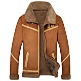YuanDian Herren Winter Flieger Bomber Lederjacke Faux Fell Gefüttert Und Fellkragen Verdicken Plus SAMT Warme Winddichte Aviator Vintage Kunstlederjacke Blouson Mantel Kaffee XL