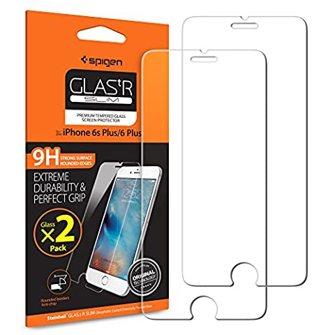 Spigen ® **2 Pack** Protection écran iPhone 6s Plus / 6 Plus , Verre Trempé iPhone 6s Plus / 6 Plus, [Extreme Résistant aux rayures] **Ultra Clair** Film Protection iPhone 6s Plus / 6 Plus, Protection Vitre iPhone 6s Plus / 6 Plus (SGP11785)