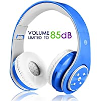 Kids Wireless Bluetooth Headphone with Microphone volume limited foldable Earphone Children Stereo On Ear headset for PC / TV / Tablets / Smartphones Blue