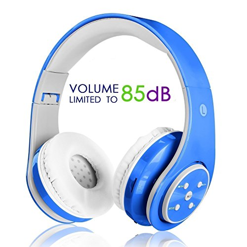 WirelessBluetooth Auriculares sobre oreja para Niños limitador de volumen diadema ajustable divisor de toma con acolchado hipoalergenico para iPad,iPhone, tablets, telefonos inteligentes y otros dispositivos