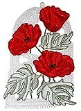 Plauener Spitze  Fensterbild 16x27 cm + Saugnapf Roter Mohn Mohnblume Fensterschmuck Deko Sommer Herbst Spitzenbild