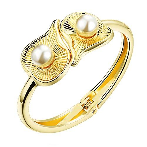 PAURO Damen Schmuck Liebe Herz Shell Perlenarmband Offenen Armreif Gold-Ton