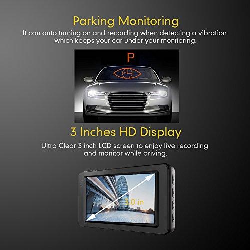 Mibao Dashcam Telecamera per Auto Dash Cam per Auto Camera Car 1080P con 3.0″ LCD, 170 Gradi, G-Sensor, WDR, 6 Glens, Rilevazione di Movimento, Registrazione in Loop,WDR - 6