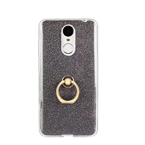EKINHUI Case Cover Soft Flexible TPU Back Cover Case Shockproof Schutzhülle mit Bling Glitter Sparkles und Kickstand für Huawei Changxiang 6 ( Color : Gold ) Black