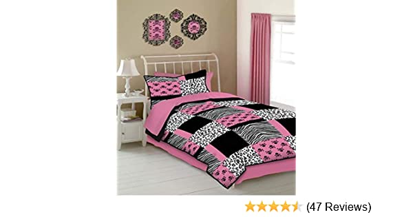 Full Size Veratex Peace and Love Collection Modern Coordinating Graphic 4-Piece Sheet Set Pink