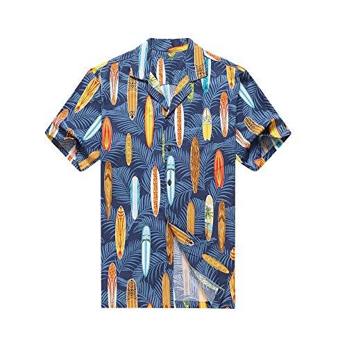 Fabriqué à Hawaï Chemise hawaïenne pour hommes Chemise Aloha Paumes Surfboards dans Couleur assorties Paumes Fleurs Maisons dans Bleu