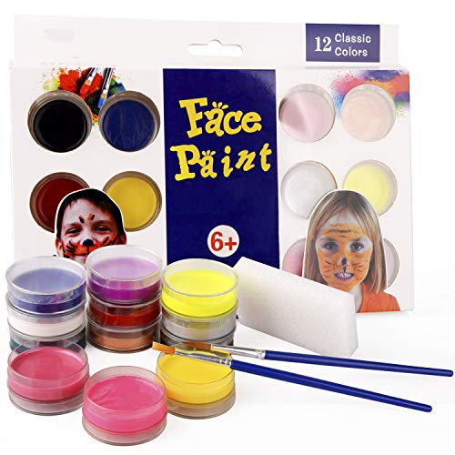 JK Face Paints Kit für Kinder, 12 Farben Waschbare Body Painting Palette Make-up Mini Starter Kit, mit 2 Pinsel, für Halloween, Party, Cosplay