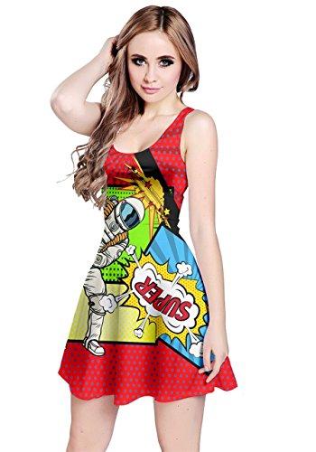 Unbekannt CowCow Damen Cosplay-Kostüm, Motiv: Meerestiere, lustiges Design, ärmelloses Skater-Kleid, XS-5XL Gr. 52, Red ()