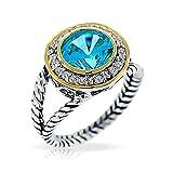 Bling Jewelry Silber 925 simulierten Aquamarin Zwei Ton-Ring
