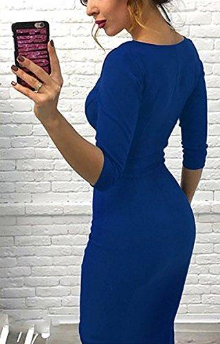Femme Zipée Robe de Soirée Casual Manche 3/4 Robes Col Rond Tunique Party Cocktail Bodycon Dress Bleu