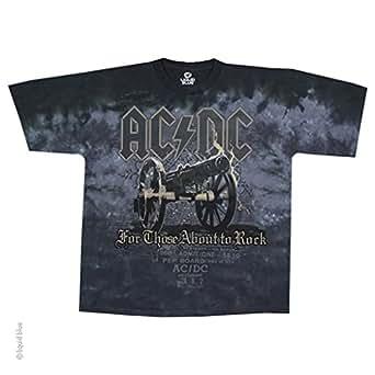 AC/DC - Cannon (T-Shirt, Farbe: batik blau schwarz, Größe: L)