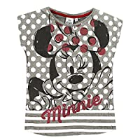 Disney Minnie Mouse girls Short Sleeve Top T-Shirt - Collection 2016 - 2-8 Years GREY 3Y