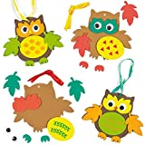 Anhänger-Bastelsets Herbsteulen für Kinder zum Basteln und Aufhängen (5 Stück)