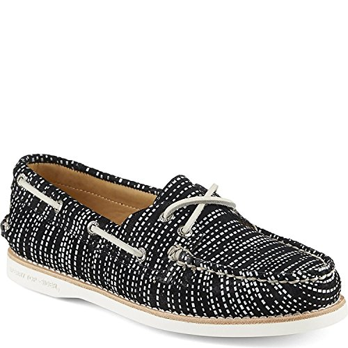 Sperry Top-Sider Women's Gold Cup A/O Seasonal Boat Shoe,Black/White Leather,US (Cup Sperry Gold)