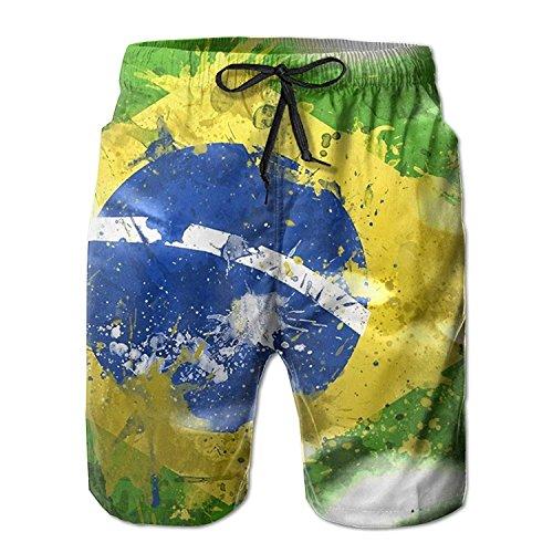 khgkhgfkgfk Men's Brazil Flag Grunge Quick Dry Summer Beach Surfing Board Shorts Swim Trunks Cargo Shorts XX-Large Chaps-mens Tie