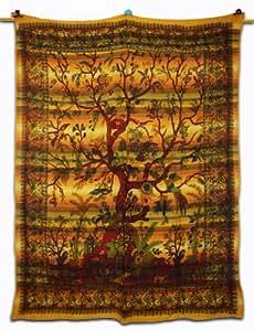 """Décoration murale Tree Of Life Tapisserie orange Chemin de Table Fiche Bed cadeau de 100""""X 81"""""""