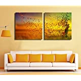 2 Painting Sets Of The Beautiful Blossom Butterfly Canvas Oil Print With Wooden Mounting   Size 31x61x5 Cms Canvas Painting … (Now At 50% Discount)