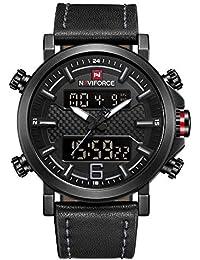 Naviforce - Reloj de Pulsera para Hombre, analógico, Digital, de Cuarzo, Correa de Piel, con Doble Zona horaria,…