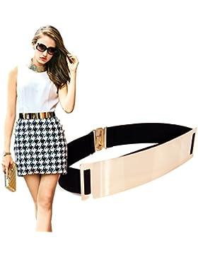 S&E las de las mujeres el oro tono elástico Espejo Adorno de metal vestido de la correa de la cintura del estiramiento...