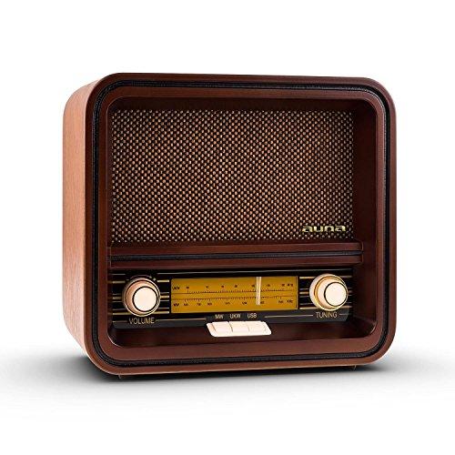 Auna Belle Epoque 1901 Radio diseño retro USB MP3 (Radio AM/FM, carcasa de madera con elementos clásicos de control, altavoz cubierto con tela)