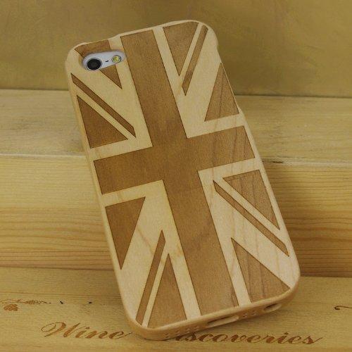 SunSmart (TM) unique fait main naturelle merisier Hard Cover Case en bois pour iPhone 5 5s(source d'inspiration) érable Union Jack