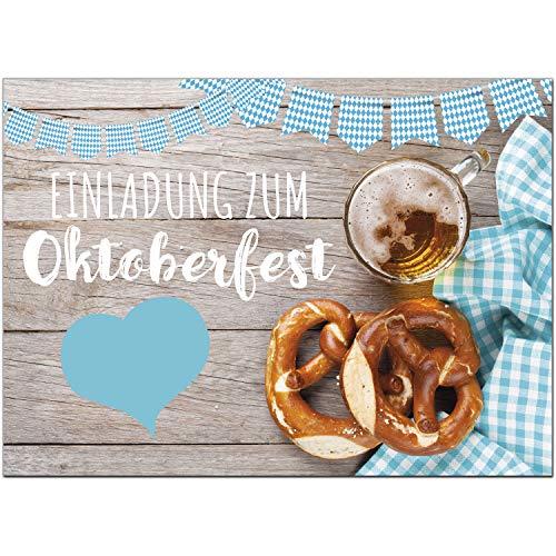 15 Einladungen zum Oktoberfest 2019 / Format DIN A6, 2-seitig/Rustikal bayrisch/Einladungs-Karten zum Oktober-Fest mit Umschlägen/Garten Party