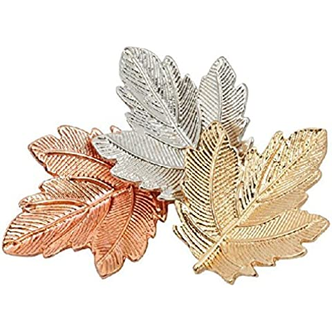 OUYANG Alloy Maple Leaf Chinese Restaurant mosaic brooch