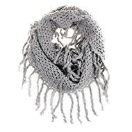 TININNA Fashionable Autumn Winter Kids Toddler Knit Warmer Tassels Neck Scarf Circle Loop Round Scarves Shawl - Grey