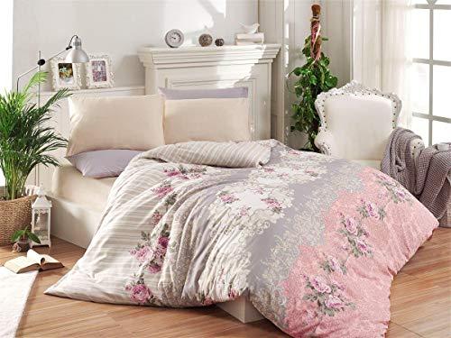 OliLinges Bettbezug für King-Size-Betten, Pink/Grau