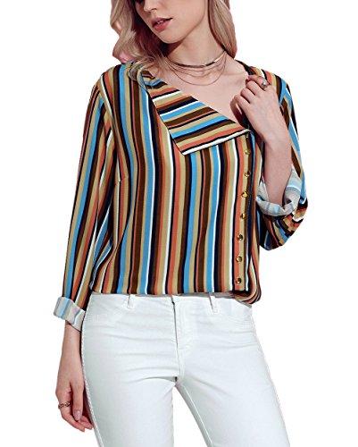 2fd6f20df Aleumdr Mujer Camisa Retro Mangas Largas Blusa Vintage Camiseta a Rayas  Amarillo Size S