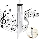 UniGift 35 inch Long Wind Chime with 18 Aluminum Alloy Tubes for Outdoor Patio,Balcony and Indoor Decoration (Silver)