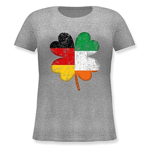 Irish Frauen's Kostüm - St. Patricks Day - Deutschland Irland Kleeblatt - L (48) - Grau meliert - JHK601 - Lockeres Damen-Shirt in großen Größen mit Rundhalsausschnitt