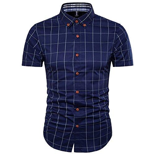 AIYINO Herren Freizeit Hemd Kariert Drucken Kontrast 100% Baumwolle Business Langarmshirts 13 Farben (X-Large, G-Navy) (Farbe Baumwolle Kontrast)