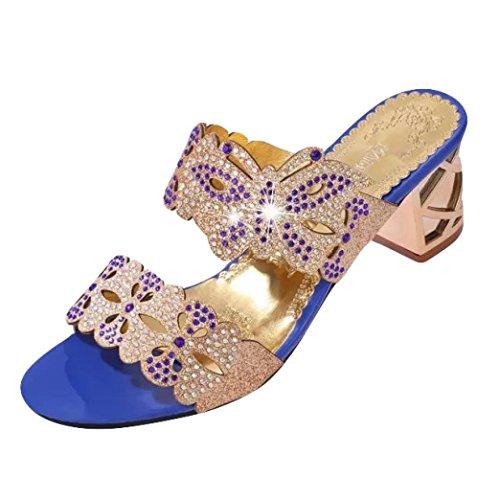 UFACE Strass Floß Air mit Frauen Sandalen Hausschuhe Sommer Mode MäDchen GroßE High Heel Sandaletten Damen Strand Sandale (37, Stil 8- Blau)