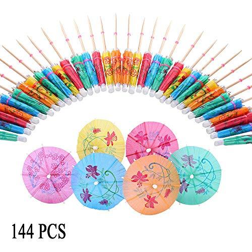 144 Stück cocktailschirmchen, Cocktail Regenschirme, Drink Sticks für Cocktail Dekoration, Beach Parties, Dekoration, Partyzubehör (6 Farben) (Regenschirm Sticks Drink)