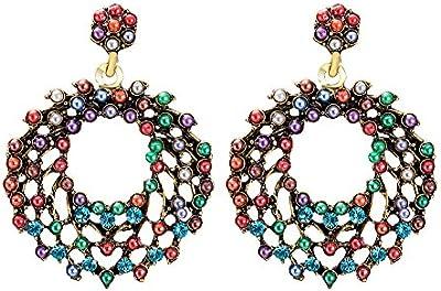 Pendientes para su joyería ronda gitana con coloridas perlas hermanas regalo