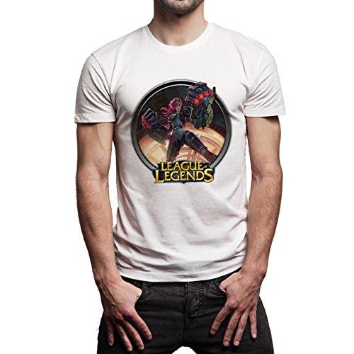 League Of Legends Champion Character Art Vi Button Herren T-Shirt Weiß